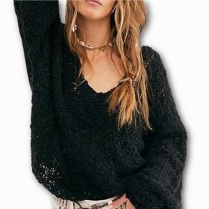 Free People Black Slouchy Oversized Sweater (S)